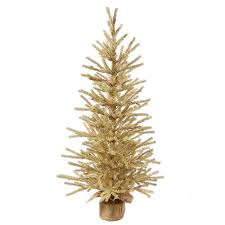 1 5 gold artificial tinsel twig tree in burlap base