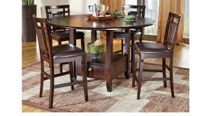 counter height dining room table chocolate brown 5 pc counter height dining set casual