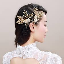 hair ornaments luxurious bridal hair comb golden leaf women pearl hair jewelry