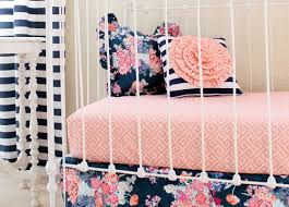 Navy Nursery Decor Stripe And Floral Pillow Coral And Navy Nursery Decor