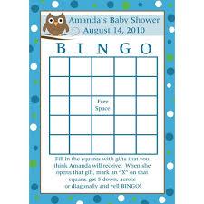 baby shower bingo 24 personalized baby shower bingo cards baby owl design blue
