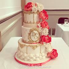 coral wedding cakes coral white and gold wedding cake cake by cakesdecor