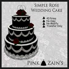 second life marketplace simple rose wedding cake black red