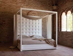 Contemporary Canopy Bed Canopy Bed Double Contemporary Leather Ginevra By Vittorio