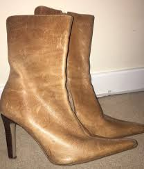 womens boots gumtree schuh brown leather stiletto boots size 7 in penicuik