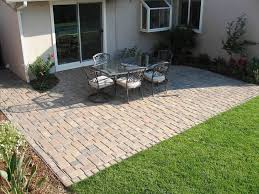 patio paver cheap patio floor ideas with white padded chairs
