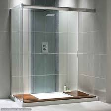 bathroom simple glass wall shower with white floor base and