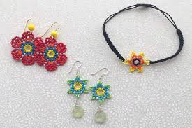 necklace making beaded jewelry images Huichol bead flower jewelry tutorials jpg
