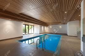 Indoor Pool Luxury Apartment With Indoor Pool Wooden Ceiling Stock Photo