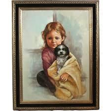 leo jansen leo jansen children 53686 girl puppy on canvas w coa from