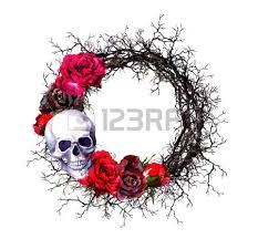 human skulls with flowers branches seamless border frame