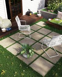 outdoor patio sitting area with porcelain patio stones that look