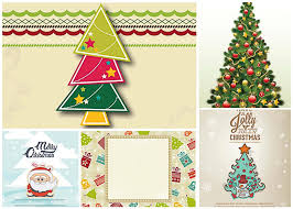 christmas tree holiday giftcard set vector free download