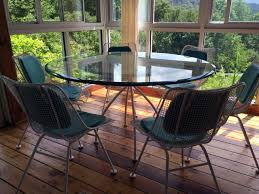 sculptura metal mesh table and six side chairs woodard at