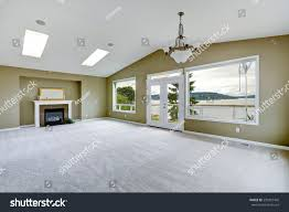 spacious living room empty spacious living room walkout deck stock photo 230907442