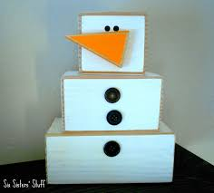 wooden 4 x 4 snowman craft tutorial six sisters u0027 stuff diy