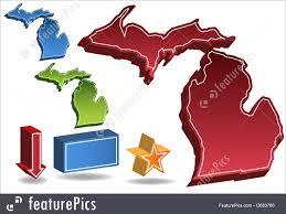 Michigan Map Outline by Michigan Map Illustration