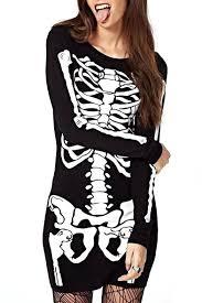 Skeleton Dress Punk Style Skeleton Print Black Long Sleeve Dress Beautifulhalo Com