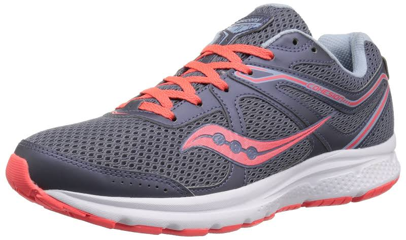 Saucony Grid Cohesion 11 Grey / Viz Red Ankle-High Mesh Running 5.5M