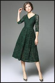 green dress green lace dress 3 4 sleeves v neck a line 2017