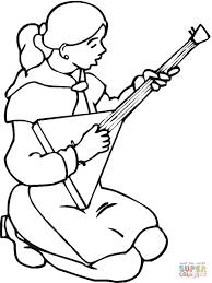 russian is playing balalaika coloring page free printable