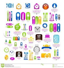 kitchen set business logo web icons sign stock vector image