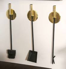 wall mounted mid century brass fireplace tools set of three for