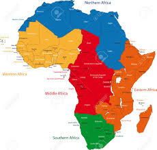 africa map countries and capitals colorful regions of africa with countries and capital cities