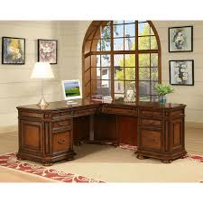 L Desk With Hutch by Riverside Cantata Executive L Shaped Computer Desk Hayneedle