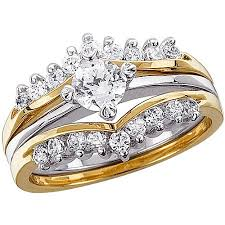 two tone wedding rings 1 02 carat t g w cubic zirconia two tone wedding ring set