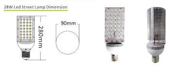Standard Light Bulb Size 28w E40 Or E39 Mogul Base Aluminum Fin Led Street Light Bulbs