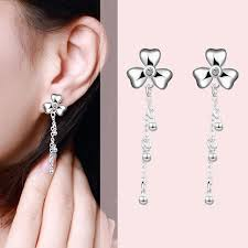 pretty woman earrings 2017 new design fashion silver clover drop earring with