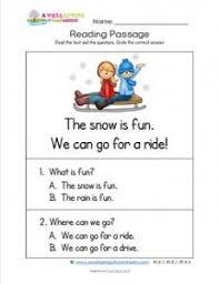 kindergarten reading passage kindergarten reading passages snow a wellspring