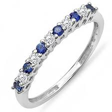 Diamond Sapphire Wedding Ring by Amazon Com 10k White Gold Round White Diamond U0026 Blue Sapphire