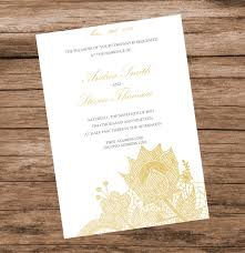 diy gold floral lace wedding invitation template lace flowers