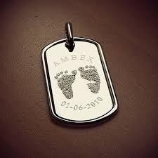 baby dog tags shimmer and custom engraved footprint dog tag inner circle