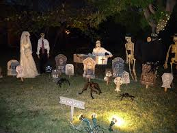 halloween decorations outside at night