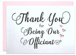 wedding gift note thank you for being our officiant gift note wedding officiant