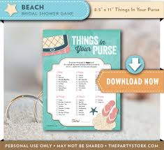 bridal shower purse game beach theme printable things in