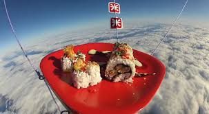 send food the trend of sending food into the sky here is space sushi