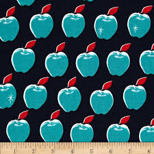 Home Decor Print Fabric by Cotton Steel Picnic Apples Navy Discount Designer Fabric