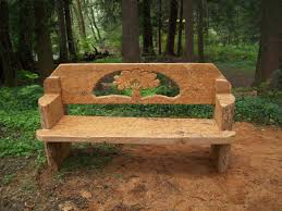 tree bench chainsaw carved from one western red cedar log found