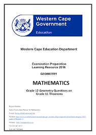 grade 12 geometry grade 11 theorems 2016 2008 wced eportal