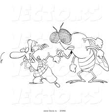 vector of a cartoon huge fly behind a man swatting flies