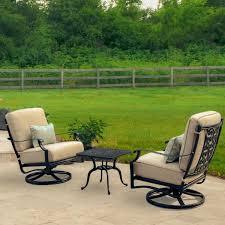 Sunbrella Rocking Chair Cushions Carondelet 3 Piece Cast Aluminum Patio Conversation Set W Swivel
