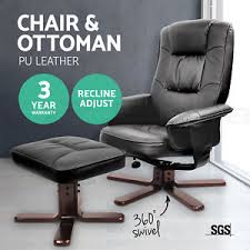 Office Chair And Ottoman Pu Leather Wood Arm Lounge Chair Recliner Ottoman Office Armchair