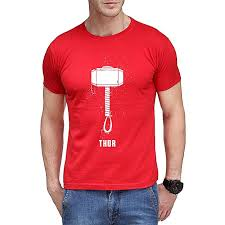 buy the ajmery red hammer of thor printed t shirt for men online