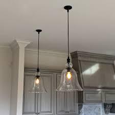 Pendant Lights For Kitchen Glass Bell Shaped Pendant Light Tequestadrum Com