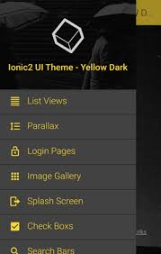 ionic 3 ui theme template app material design yellow dark by