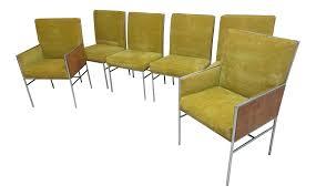 milo baughman thayer coggin chrome burl wood dining chairs s 6